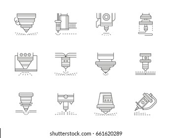 Industrial lasers. Set of black flat line icon