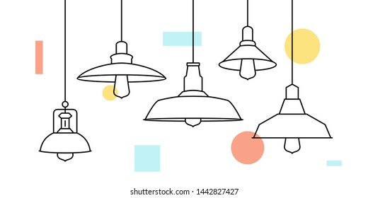 Industrial loft Metal Pendant Light Hanging Lamp Edison Bulb lighting vector icon illustration outline line furniture