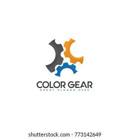 Industrial Logo Concept. Gear Shape Logo Template.