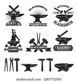 Industrial logo set. Labels for blacksmith. Vector design template with place for your text. Blacksmith and workshop, hammer and anvil emblem illustration