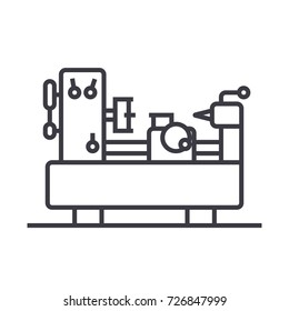 industrial machine equipment vector line icon, sign, illustration on background, editable strokes