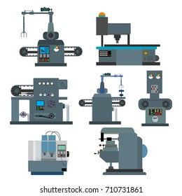 Industrial machine for the production of ideas ,concepts.Factory construction equipment, engineering vector flat illustration.