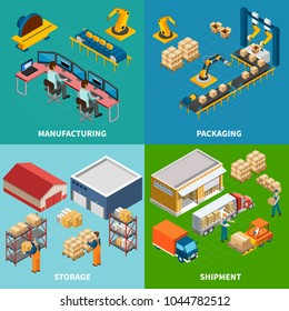 Industrial machines isometric design concept with four compositions of automated manipulators and conveyor images with text vector illustration