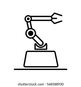 Industrial mechanical robot arm vector icon. Modern style logo vector illustration concept.
