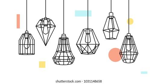 Industrial Metal Cage Pendant Light Hanging Lamp Edison Bulb lighting vector icon illustration outline line furniture