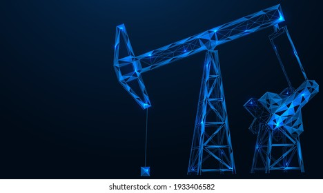 Industrial oil pumping tower. Fuel production. Polygonal construction of concatenated lines and points. Blue background.