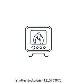 industrial oven icon, line vector