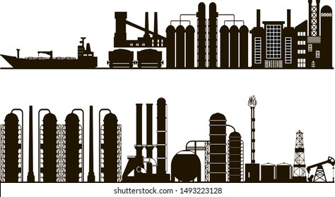 Industrial panorama background, black and white silhouette.  Vector line art illustration featuring oil and gas factories industrial landscape.