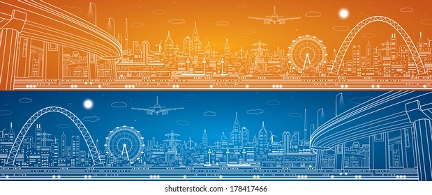 Industrial panorama, technology landscape, infrastructure illustration, day and night city