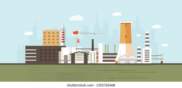 Industrial park, site, zone or area with manufacturing buildings and facilities, power plants and factories, crane, cooling tower against city skyline in background. Flat cartoon vector illustration.