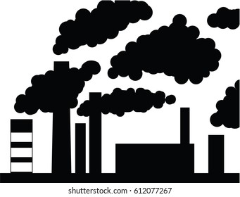 Industrial pipe silhouette smoke, vector illustration