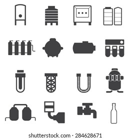 Industrial Pipeline Parts. Pipe, Tank icons set,Vector