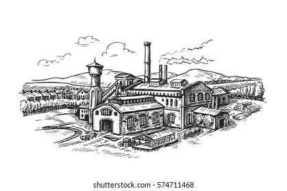Industrial plant, factory sketch. Vintage building vector illustration