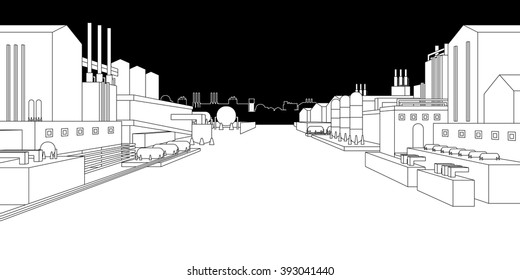 The industrial plant and manufacture building. Vector illustration