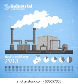 Industrial plant template with pipes smoke chimney on blue retro background in flat style vector illustration