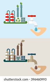 Industrial plant and water with toxic waste. Environmentally friendly plant and water purification system. Ecology design concept with air, water, soil pollution. Flat isolated vector illustration.