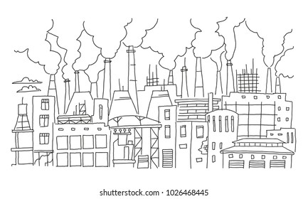 Industrial pollution big city panorama sketch. Hand drawn vector stock line illustration. Building landscape.