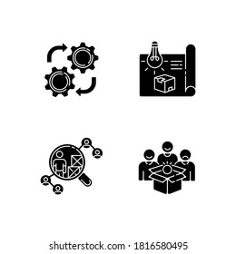 Industrial processes black glyph icons set on white space. Product concept development, prototype production, vendor selection and maintenance service silhouette symbols. Vector isolated illustrations