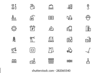 Industrial Processes Line Vector Icons 2