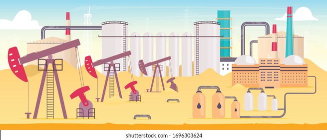 Industrial refinery plant flat color vector illustration. Gas extraction station 2D cartoon landscape with chimneys on background. Onshore oil rig with pumps. Natural resources mining equipment