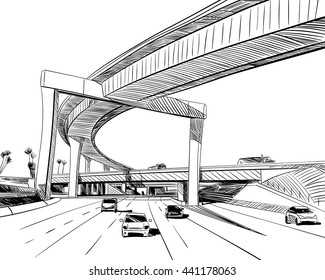 The industrial road sketch design. Hand drawn vector illustration