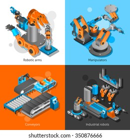 Industrial robot design concept set with robotia arms and conveyors isometric icons isolated vector illustration