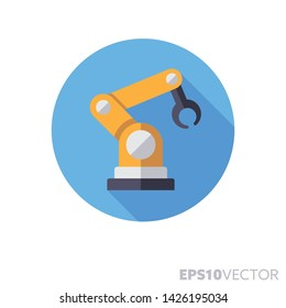 Industrial robot flat design round icon. Color symbol of automation and computer aided manufacturing. Long shadow vector illustration in a circle isolated on white background.