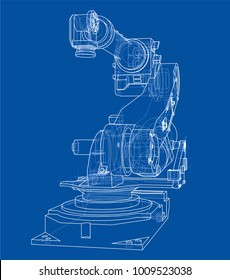 Industrial robot manipulator or robot arm. Vector image rendered from 3d model in sketch style or drawing. Blue background