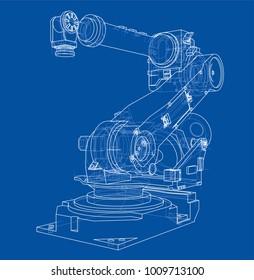 Industrieroboter-Manipulator. Vektorbild aus 3D-Modell in Skizze oder Zeichnung. blauer Hintergrund