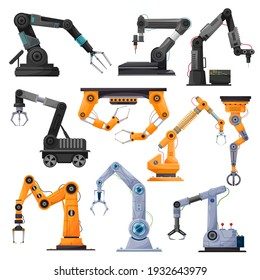 Industrial robot manipulators, robotic arms or mechanical hands. Vector manufacturing automation technology and robotics engineering concept, articulated robots, modern equipment or devices design