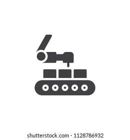 Industrial robot vector icon. filled flat sign for mobile concept and web design. Conveyor and robotic arm simple solid icon. Symbol, logo illustration. Pixel perfect vector graphics