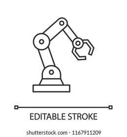 Industrial robotic arm linear icon. Thin line illustration. Robot hand. Contour symbol. Vector isolated outline drawing. Editable stroke