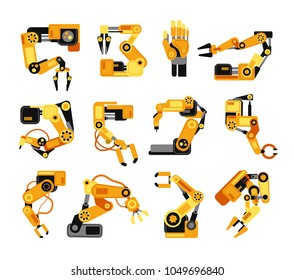 Industrial robotic arms manufacture technology assembly equipment vector set. Industry assembly equipment for manufacturing machine illustration