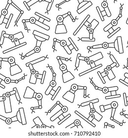 Industrial robots pattern seamless pattern. Tiling textures with thin line black and white icon set