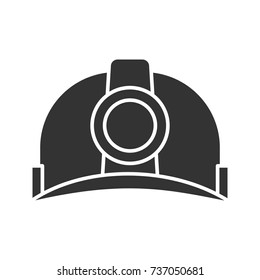 Industrial safety helmet glyph icon. Silhouette symbol. Hard hat. Negative space. Vector isolated illustration