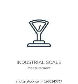 Industrial scale icon. Thin linear industrial scale outline icon isolated on white background from measurement collection. Line vector sign, symbol for web and mobile