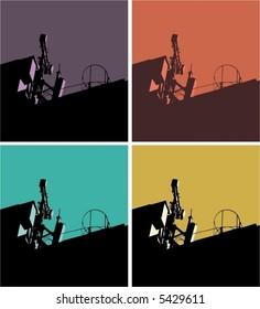 industrial scene ,same illustration in 4 different color,vector,pop art