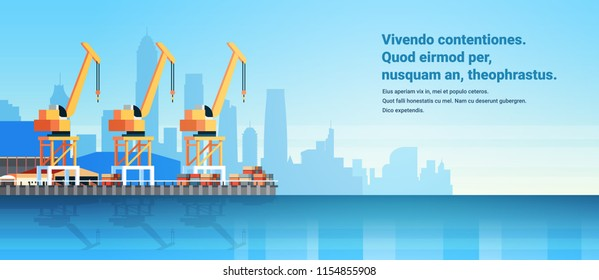 Industrial sea port cargo logistics container import export crane water delivery transportation concept shipping dock flat horizontal copy space vector illustration