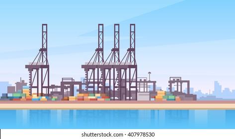 Industrial Sea Port Cargo Logistics Container Ship Crane Flat Vector Illustration