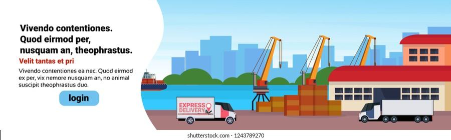 Industrial sea port freight ship cargo minivan crane logistics loading warehouse water delivery transportation concept international shipping seaside flat horizontal banner copy space
