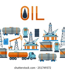 Industrial seamless pattern with oil and petrol icons. Extraction and refinery facilities.