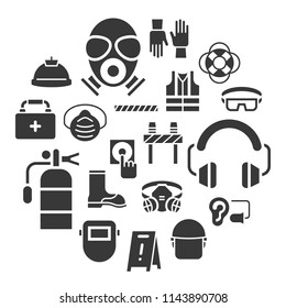 industrial security and protective equipment for worker illustration, solid design
