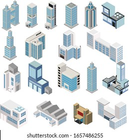 Industrial set of 3D isometric projection of dimensional houses, buildings, and many other design elements necessary creative designers