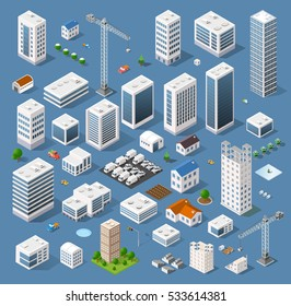 Industrial set of 3D isometric projection of dimensional houses, buildings, cranes, cars and many other design elements necessary creative designers