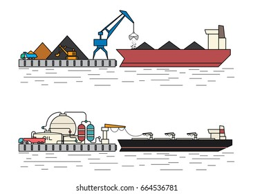 Industrial ships. Dry cargo ship, bulk carrier unloading at the port. Oil tanker and marine petroleum terminal. Flat outline style vector illustration