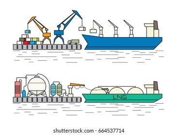 Industrial ships. Dry cargo ship, bulk carrier unloading at the port. Gas tanker and marine petroleum terminal. Flat outline style vector illustration