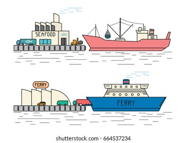 Industrial ships. Seiner unloads fish in the port. Car ferry with vehicles at the pier. Flat outline style vector illustration