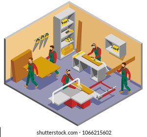 Industrial shop with furniture makers during work process isometric composition with interior elements vector illustration