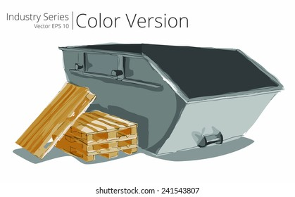 Industrial Skip. Vector illustration set of Skip and Pallets, Color Series.