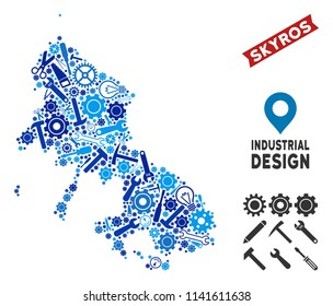 Industrial Skyros Greek Island map collage of gearwheels, spanners, hammers and other tools. Abstract territory scheme in blue shades. Vector Skyros Greek Island map is designed of tools.